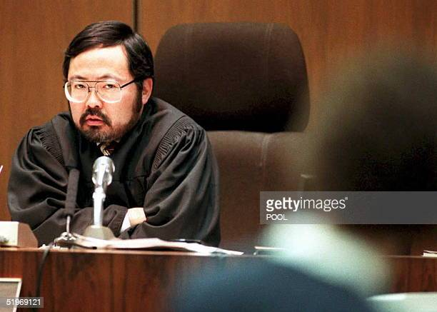 Judge Lance Ito looks at prosecutor Marcia Clark as he admonishes her for argumentative behavior during her opening statements to the jury in the OJ...