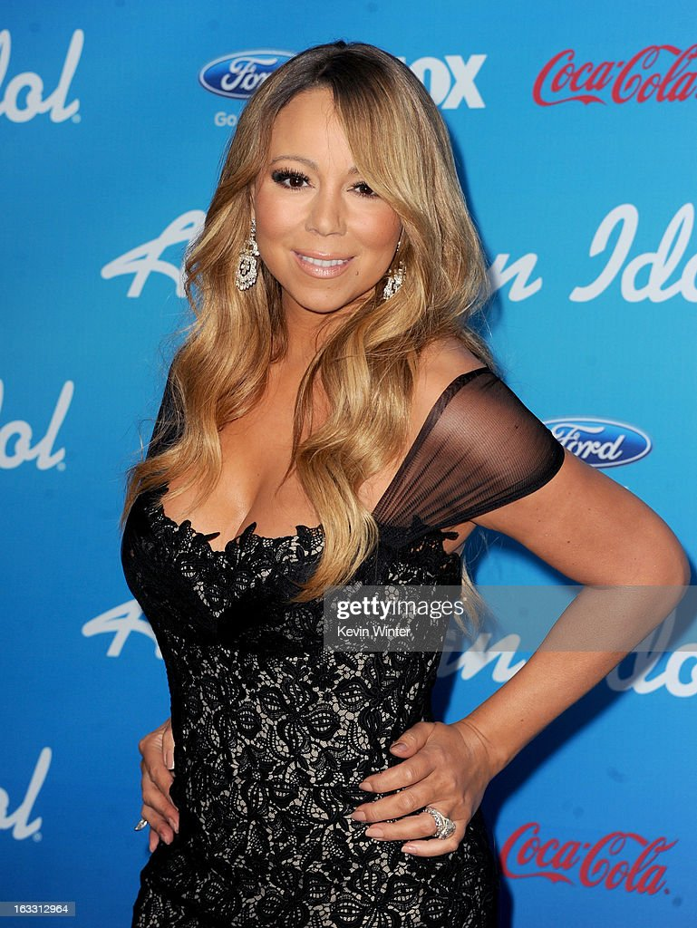 Judge <a gi-track='captionPersonalityLinkClicked' href=/galleries/search?phrase=Mariah+Carey&family=editorial&specificpeople=171647 ng-click='$event.stopPropagation()'>Mariah Carey</a> attends the FOX 'American Idol' finalists party at The Grove on March 7, 2013 in Los Angeles, California.