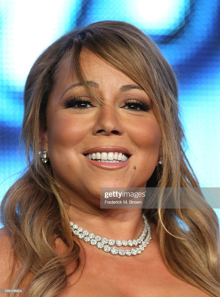 Judge <a gi-track='captionPersonalityLinkClicked' href=/galleries/search?phrase=Mariah+Carey&family=editorial&specificpeople=171647 ng-click='$event.stopPropagation()'>Mariah Carey</a> of 'American Idol' speaks onstage during the FOX portion of the 2013 Winter TCA Tour at Langham Hotel on January 8, 2013 in Pasadena, California.