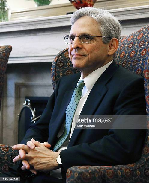 Judge Merrick B Garland meets with ranking member of the Senate Judiciary Committee Patrick Leahy at his office on Capitol Hill March 17 2016 in...