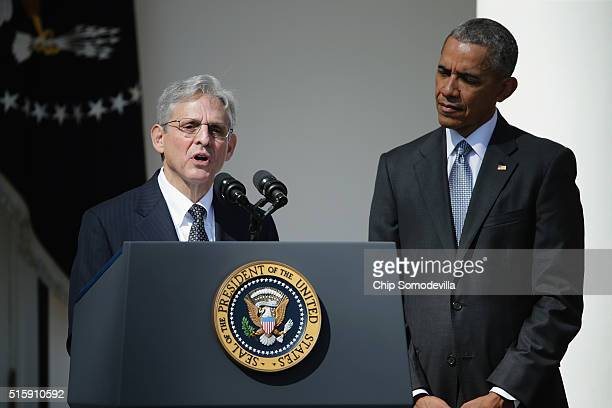 Judge Merrick B Garland speaks after being nominated to the US Supreme Court as US President Barack Obama looks on in the Rose Garden at the White...