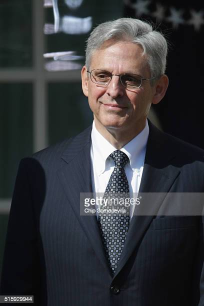 Judge Merrick Garland is introduced by US President Barack Obama as his nominee to the Supreme Court in the Rose Garden at the White House March 16...
