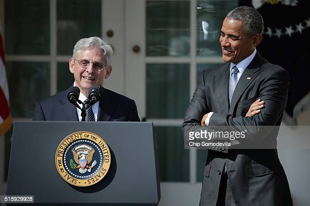 Judge Merrick Garland speaks after being introduced by US President Barack Obama as his nominee to the Supreme Court in the Rose Garden at the White...