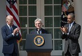 Judge Merrick Garland speaks after US President Barack Obama with Vice President Joe Biden announced Garland's nomination to the US Supreme Court in...