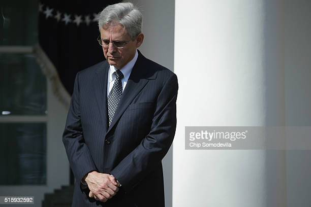 Judge Merrick Garland US President Barack Obama's nominee to replace the late Supreme Court Justice Antonin Scalia is introduced in the Rose Garden...