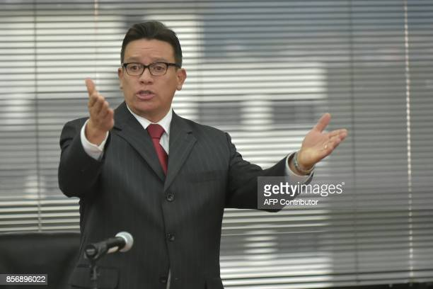 Judge Miguel Jurado speaks before issuing a pretrial detention order for Ecuadorean VicePresident Jorge Glas allegedly caught up in the Odebrecht...