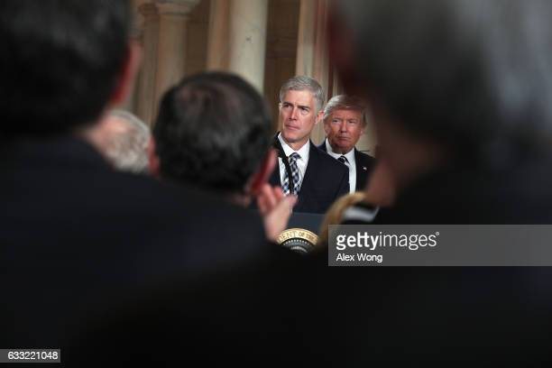 Judge Neil Gorsuch delivers brief remarks after being nominated by US President Donald Trump to the Supreme Court during a ceremony in the East Room...