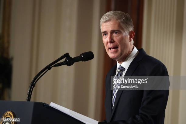 Judge Neil Gorsuch delivers brief remarks after being nominated by US President Donald Trump to the Supreme Court with his wife Marie Louise Gorshuch...