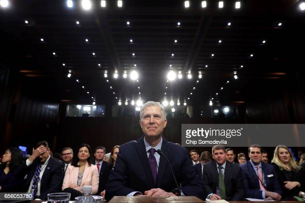 Judge Neil Gorsuch prepares to testify during the second day of his Supreme Court confirmation hearing before the Senate Judiciary Committee in the...