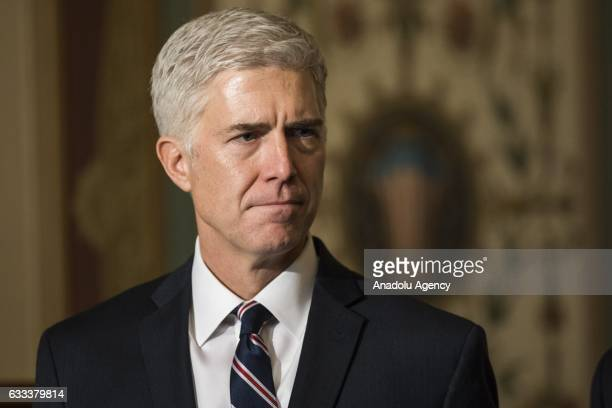 Judge Neil Gorsuch President Trumps nominee for the US Supreme Court meets with lawmakers at the US Capitol in Washington USA on February 1 2017