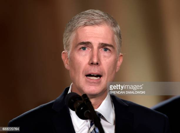 Judge Neil Gorsuch speaks after US President Donald Trump nominated him for the Supreme Court at the White House in Washington DC on January 31 2017...
