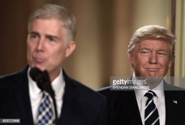 TOPSHOT Judge Neil Gorsuch speaks after US President Donald Trump nominated him for the Supreme Court at the White House in Washington DC on January...