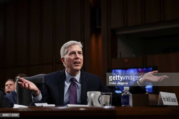 Judge Neil Gorsuch testifies during the second day of his Supreme Court confirmation hearing before the Senate Judiciary Committee in the Hart Senate...