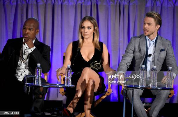 Judge NeYo Executive producer/judge Jennifer Lopez and Judge Derek Hough of 'World Of Dance' speak onstage during the 2017 NBCUniversal Summer Press...