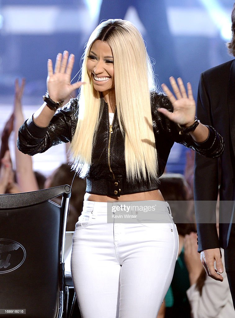 Judge <a gi-track='captionPersonalityLinkClicked' href=/galleries/search?phrase=Nicki+Minaj+-+Performer&family=editorial&specificpeople=6362705 ng-click='$event.stopPropagation()'>Nicki Minaj</a> is seen onstage during Fox's 'American Idol 2013' Finale Results Show at Nokia Theatre L.A. Live on May 16, 2013 in Los Angeles, California.