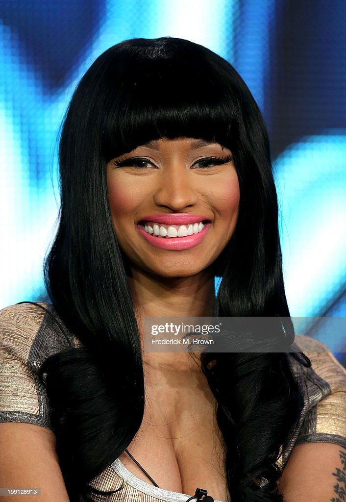 Judge Nicki Minaj of 'American Idol' speaks onstage during the FOX portion of the 2013 Winter TCA Tour at Langham Hotel on January 8, 2013 in Pasadena, California.