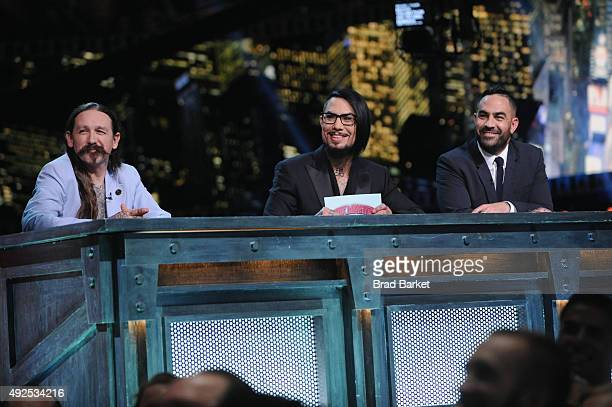 Judge Oliver Peck host Dave Navarro and judge Chris Nunez speak onstage at Spike TV's 'Ink Master' Season 6 LIVE Finale on October 13 2015 in New...