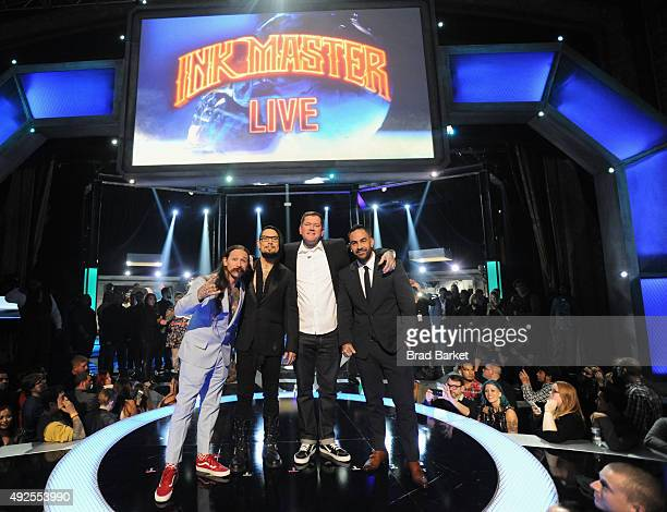 Judge Oliver Peck host Dave Navarro Season 6 winner Kruseman and judge Chris Nunez onstage at Spike TV's 'Ink Master' Season 6 LIVE Finale on October...