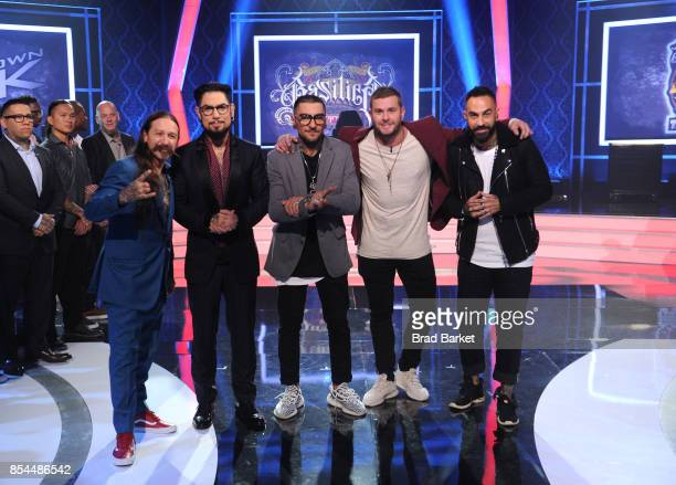 Judge Oliver Peck host Dave Navarro winners DJ Tambe and Bubba Irwin and judge Chris Nunez pose for a photo together at the 'Ink Master' Season 9...