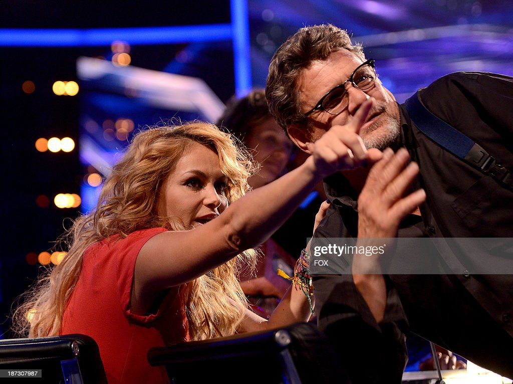 Judge Paulina Rubio (L) and photographer Ray Mickshaw on FOX's 'The X Factor' Season 3 Top 13 Perform Again Live on November 7, 2013 in Hollywood, California.