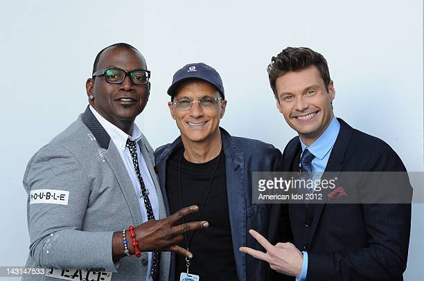 Judge Randy Jackson mentor Jimmy Iovine and host Ryan Seacrest backstage at FOX's 'American Idol' Season 11 Top 7 With Save To 6 Live Elimination...