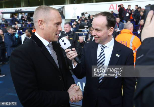 Judge Rinder is interviewed at Half Time during the Premier League match between Tottenham Hotspur and Everton at White Hart Lane on March 5 2017 in...