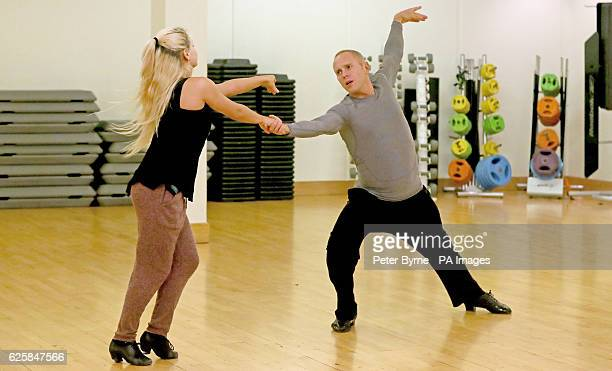 Judge Robert Rinder and Oksana Platero rehearse in a dance studio in Manchester