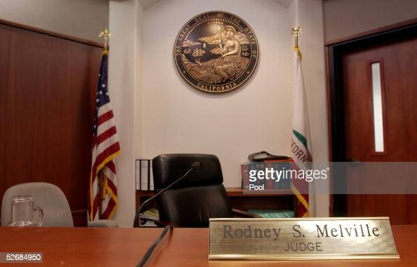 Judge Rodney Melville's bench in the courtroom at the Santa Barbara County Courthouse where the child molestation trial of pop star Michael Jackson...