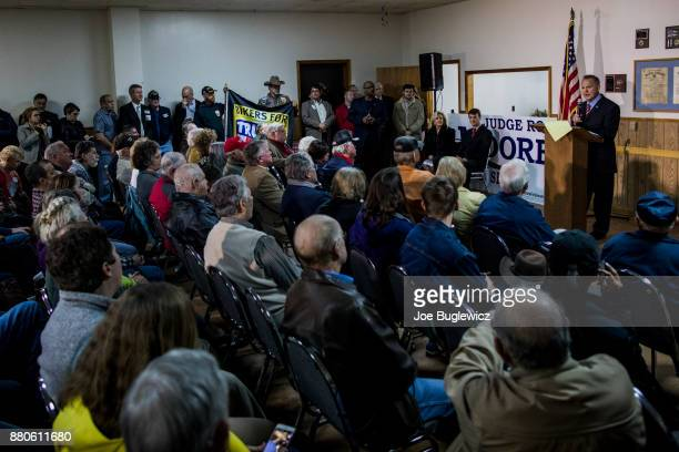 Judge Roy Moore holds a campaign rally on November 27 2017 in Henagar Alabama Over 100 supporters turned out to the event packing the Henagar Event...