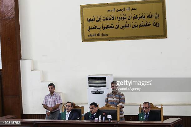 Judge Salah Mahcup is seen during the trial of Egypt's former president Hosni Mubarak's sons Alaa and Gamal at the Police Academy on trial accused of...