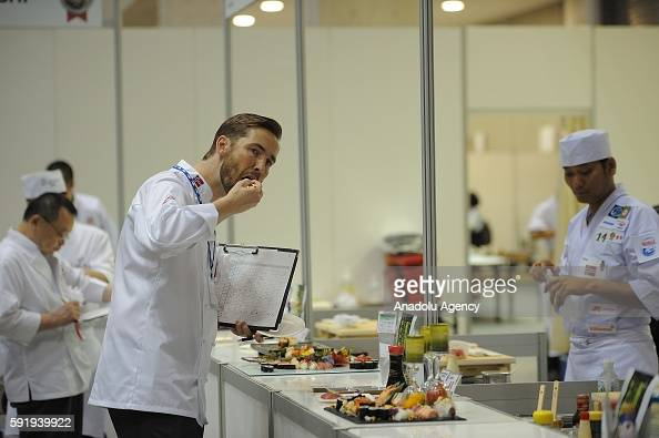A judge tastes a sushi made by a Sushi Chef during the World Sushi Cup Japan 2016 competition in Tokyo on August 19 in Tokyo Japan Sushi chefs from...