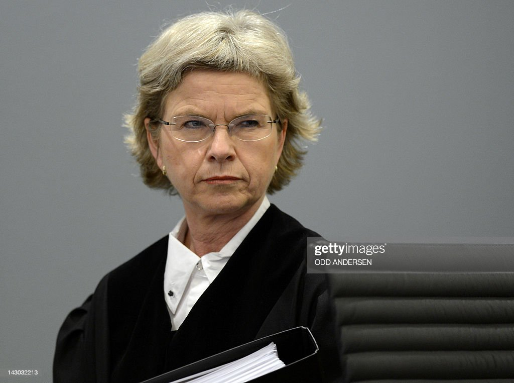 Judge Wenche Elizabeth Arntzen arrives on day three of the trial against self-confessed mass murderer and right-wing extremist Anders Behring Breivik in room 250 at the central court in Oslo on April 18, 2012. Anders Behring Breivik, who killed 77 people in Norway last July, took the stand again Wednesday on the third day of his trial, a day after telling the court he would carry out his attacks again if he could.