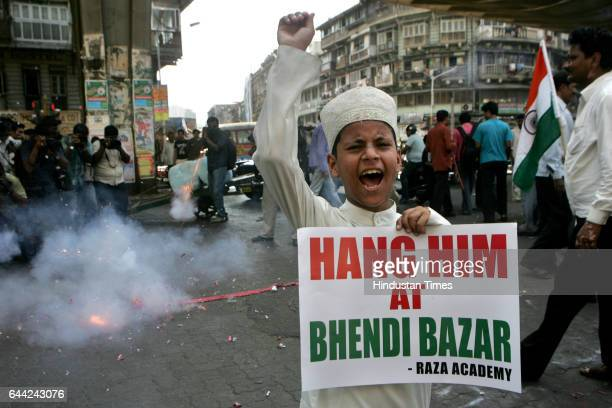 Judgement An Indian Muslim child shouts antiPakistani slogans during a rally celebrating the sentencing of Mohammed Ajmal Amir Kasab in Mumbai The...