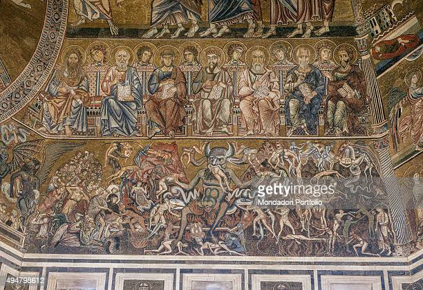 Judgement and the Doctors of the Church by Florentine craftsmen probably from the School of Coppo of Marcovaldo 13th Century mosaic Italy Tuscany...