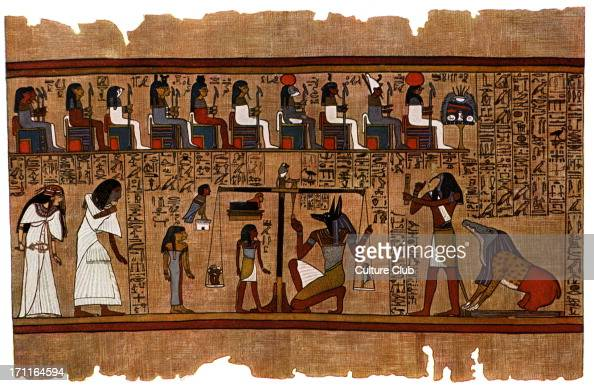 Judgement of the dead before Osiris from Egyptian Book of the Dead Original held at British Museum London