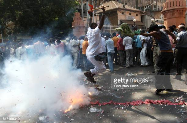 Judgement People celebrate with firecrackers after the judgment on the death sentence of Pakistani Mohammed Ajmal Kasabthe lone servier in Mumbai...