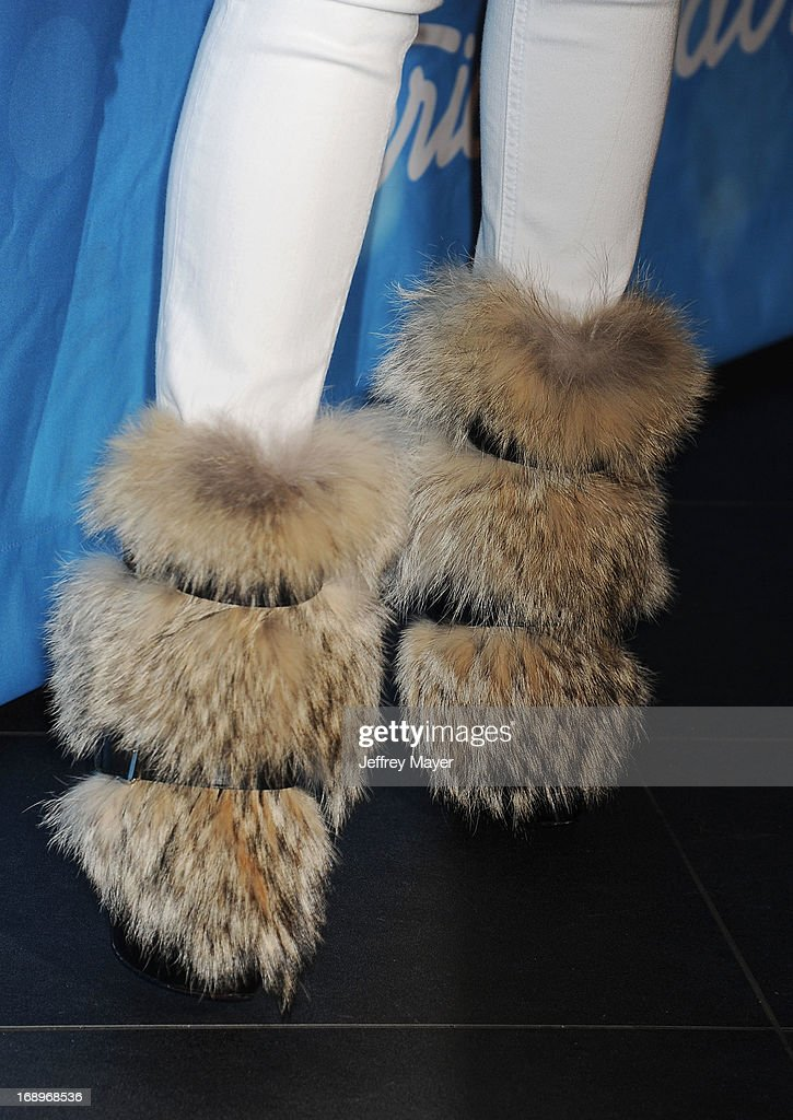 Judge/Rapper Nicki Minaj (shoe detail) in the press room at FOX's 'American Idol' Grand Finale at Nokia Theatre L.A. Live on May 16, 2013 in Los Angeles, California.