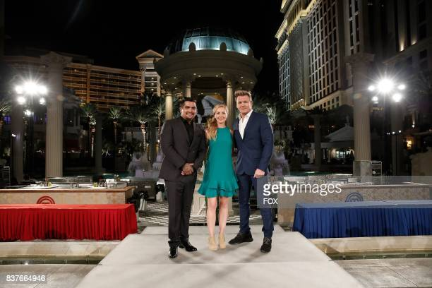 Judges Aaron Sanchez and Christina Tosi with host / judge Gordon Ramsay in the Vegas Deluxe Oyster Shucks episode of MASTERCHEF airing Wednesday Aug...