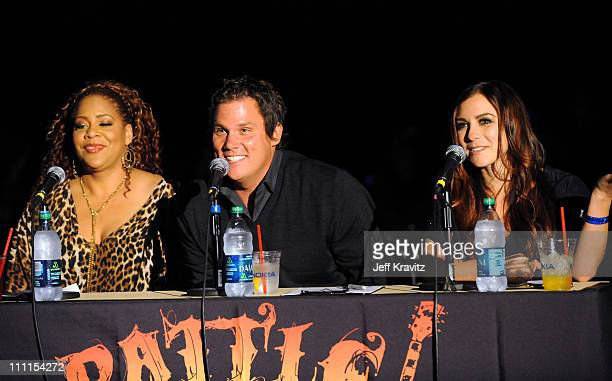 Judges actress Kim Coles actor Bob Guiney and TV host Allison Hagendorf speak during the 2010 Cable Show Battle of the Bands for Cable Cares...