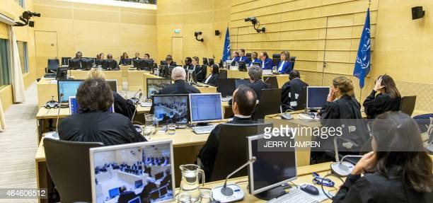 Judges and lawyers attend the verdict during a trial of Congolese exmilitia boss Mathieu Ngudjolo Chui at the International Criminal Court in The...