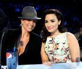 Judges Britney Spears and Demi Lovato at FOX's 'The X Factor' Season 2 Top 8 to 6 Live Elimination Show on November 29 2012 in Hollywood California