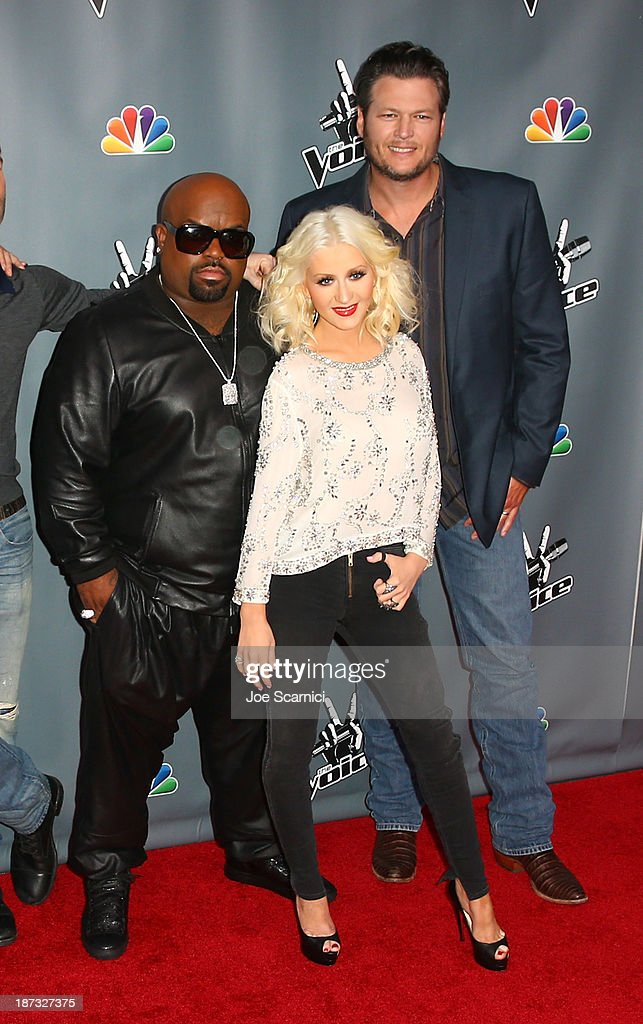 Judges CeeLo Green, <a gi-track='captionPersonalityLinkClicked' href=/galleries/search?phrase=Christina+Aguilera&family=editorial&specificpeople=171272 ng-click='$event.stopPropagation()'>Christina Aguilera</a> and <a gi-track='captionPersonalityLinkClicked' href=/galleries/search?phrase=Blake+Shelton&family=editorial&specificpeople=2352026 ng-click='$event.stopPropagation()'>Blake Shelton</a> arrive at the 'The Voice' Season 5 Top 12 Event at Universal Studios Hollywood on November 7, 2013 in Universal City, California.