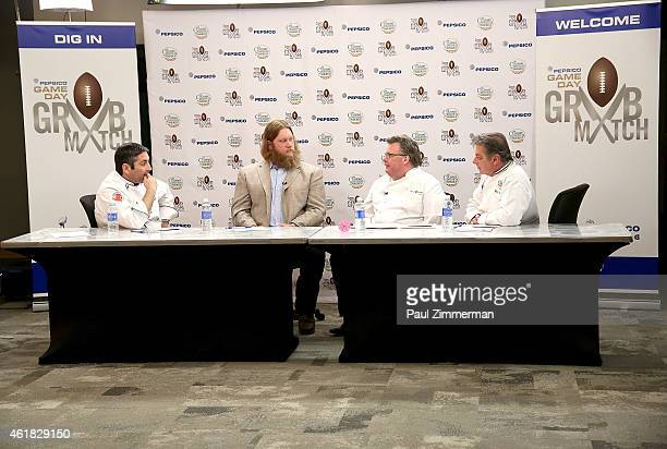Judges Corporate Executive Research Chef for PepsiCo Stephen Kalil NFL player New York Jets Nick Mangold James Beard Award winner and Bravo Top Chef...