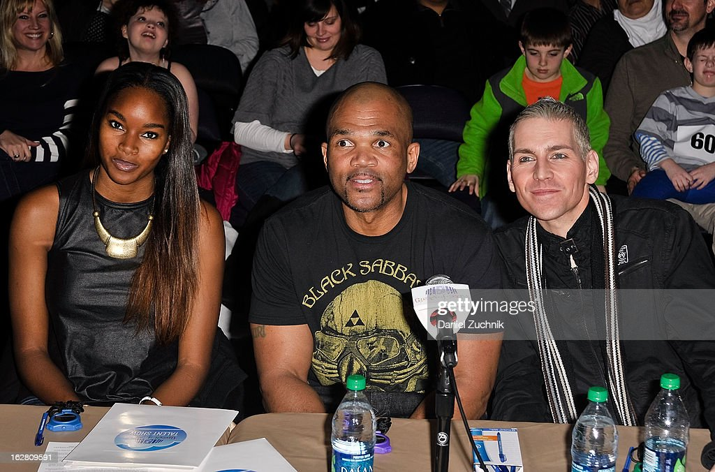 Judges Damaris Lewis, Darryl 'DMC' McDaniels and Tony Vincent attend Garden of Dreams Foundation Talent Show Auditions at The Theater at Madison Square Garden on February 27, 2013 in New York City.