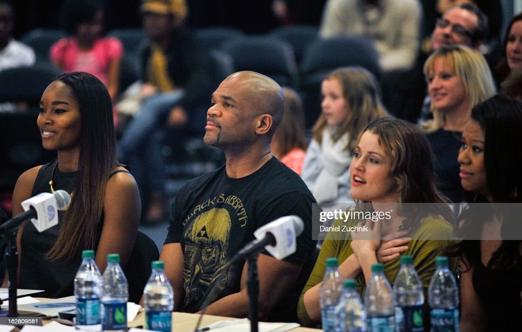 Judges Damaris Lewis, Darryl 'DMC' McDaniels, Rebecca Faulkenberry and Christina Sajous attend Garden of Dreams Foundation Talent Show Auditions at The Theater at Madison Square Garden on February 27, 2013 in New York City.