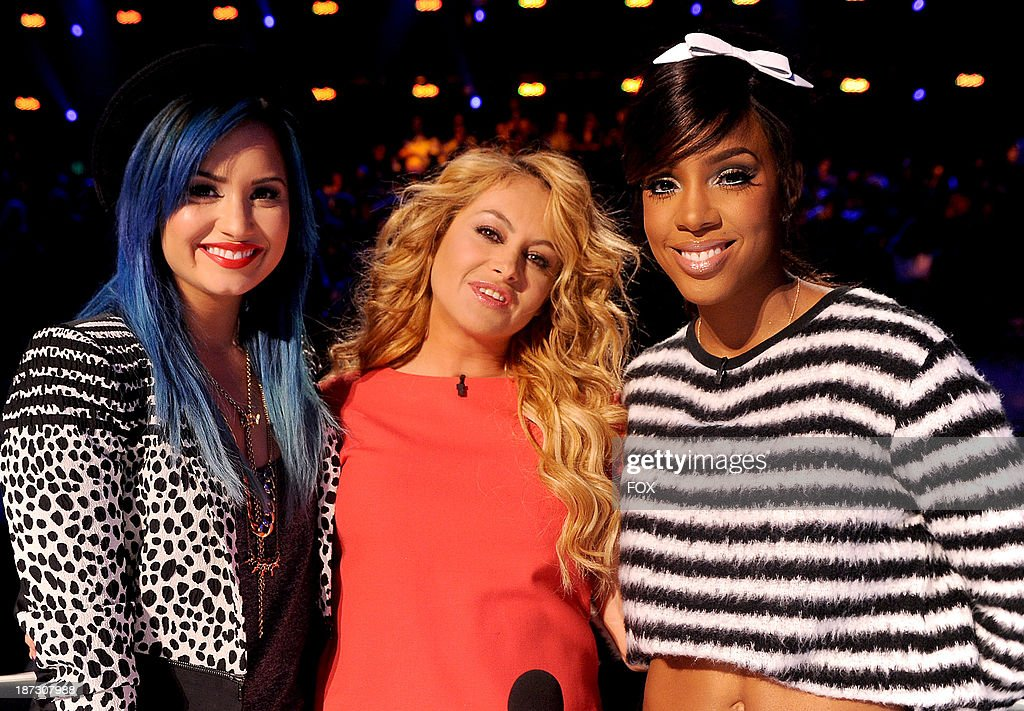 Judges Demi Lovato, Paulina Rubio and Kelly Rowland on FOX's 'The X Factor' Season 3 Top 13 Perform Again Live on November 7, 2013 in Hollywood, California.