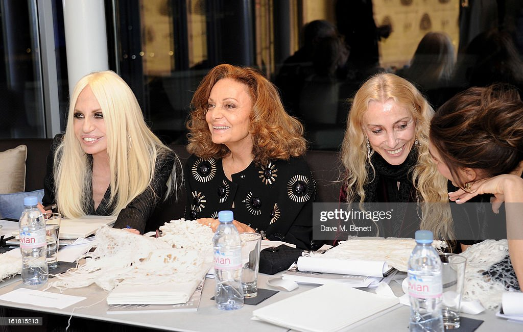 (L to R) Judges Donatella Versace, Diane von Furstenberg, <a gi-track='captionPersonalityLinkClicked' href=/galleries/search?phrase=Franca+Sozzani&family=editorial&specificpeople=639425 ng-click='$event.stopPropagation()'>Franca Sozzani</a> and Victoria Beckham attend the 2013 International Woolmark Prize Final at ME London on February 16, 2013 in London, England.