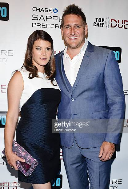 Judges Gail Simmons and Curtis Stone attend the 'Top Chef Duels' series premiere at the Altman Building on August 4 2014 in New York City