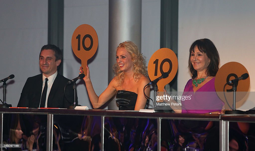 Judges Gary Neville, Camilla Dallerup and Arlene Phillips watches from the judges panel as part of Dancing with United, in aid of the Manchester United Foundation, at Old Trafford on March 7, 2013 in Manchester, England.