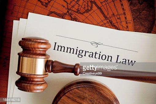 Marteau de juges sur un livre de droit à l'immigration